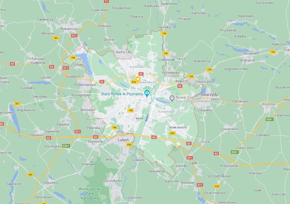 Kurs na wózek widłowy poznań - mapa